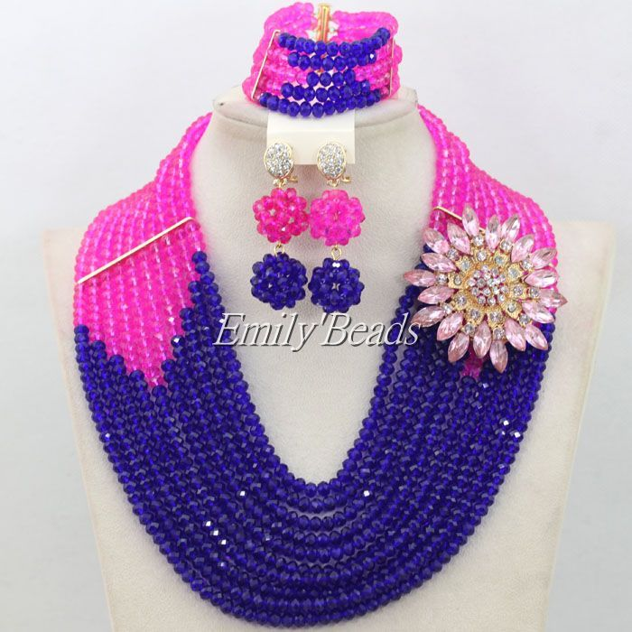 Fashion Fuchsia Pink Mixed Royal Blue Crystal Necklaces Set ...