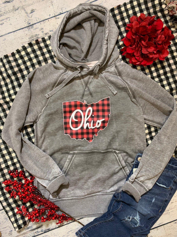 Ohio // Ohio State // Buffalo Plaid // Distressed Hoodie // Buckeyes // Ohio Hoodie // Holiday // Ohio Shirt