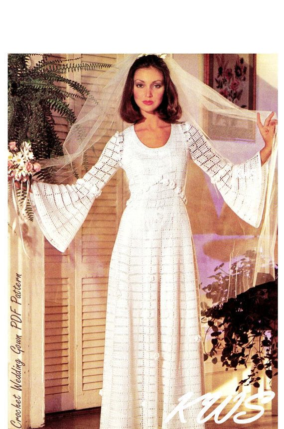 Vintage Crochet Wedding Dress Pdf Pattern Crochet Wedding Gown