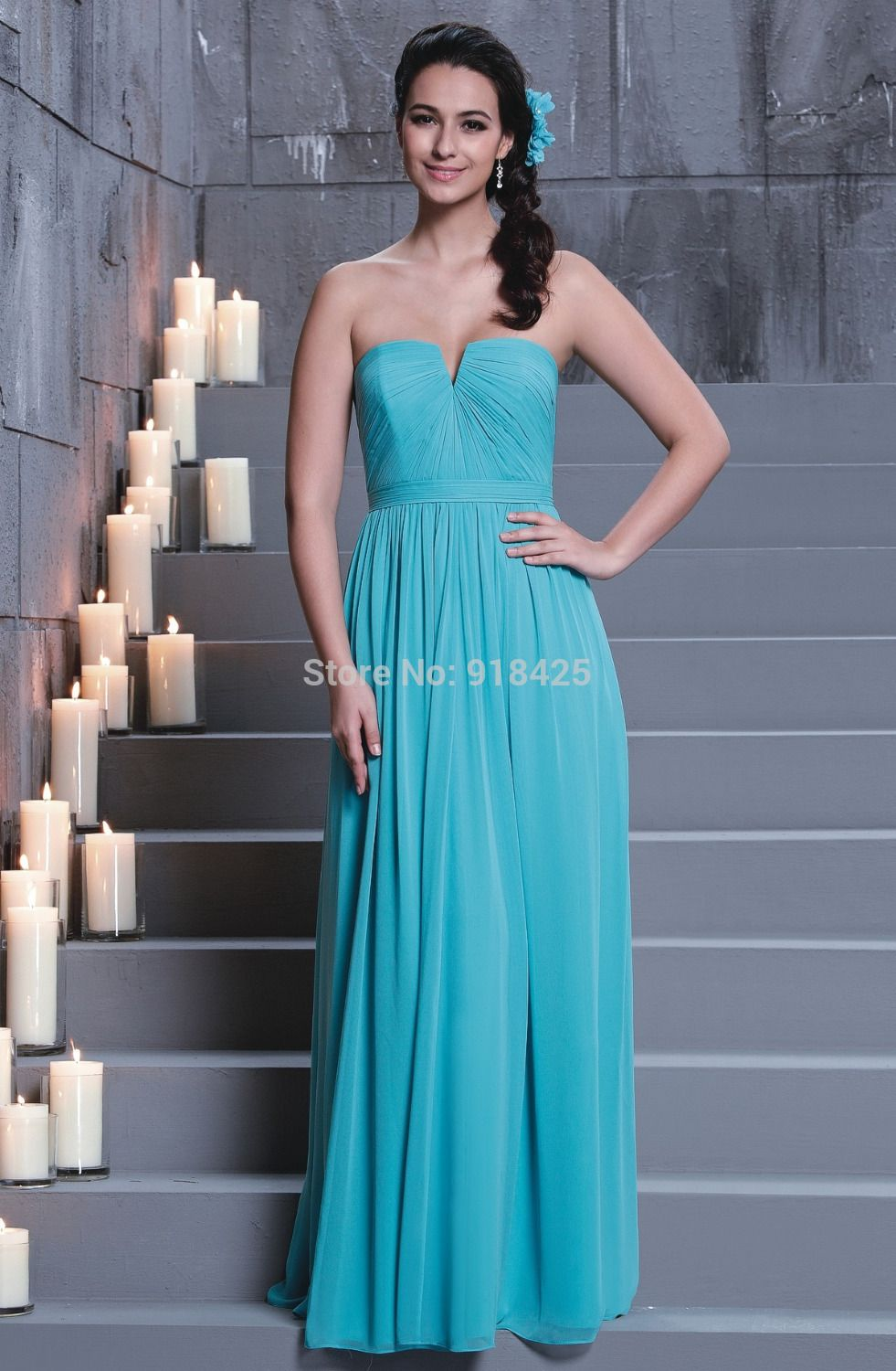 Click to buy free shipping strapless turquoise bridesmaid click to buy free shipping strapless turquoise bridesmaid dresses long chiffon party ombrellifo Image collections
