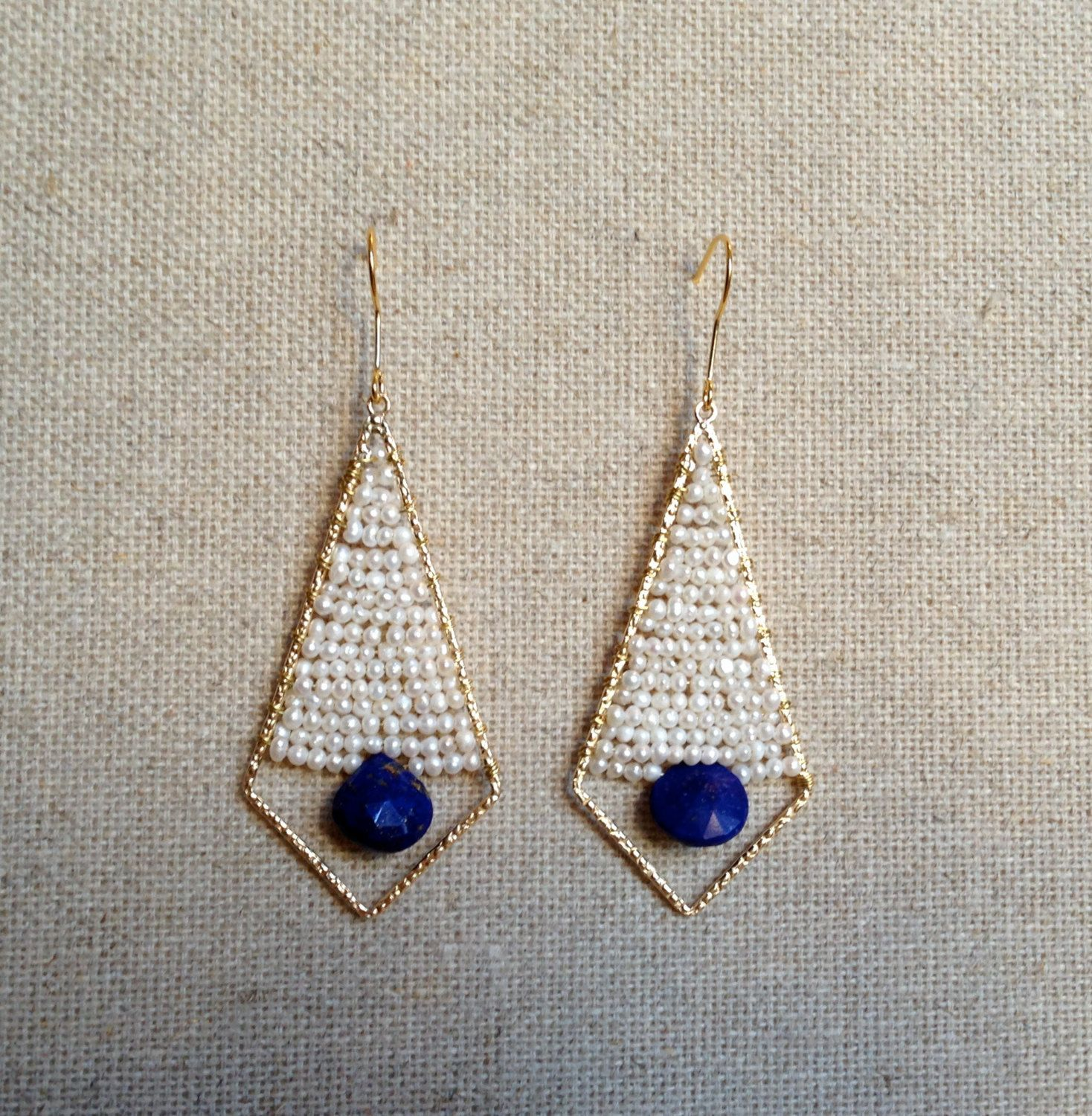 The Houston- Gold Plated Wire Wrapped Beaded Earring, Pearl and Lapis, www.etsy.com/shop/txgoldengirl