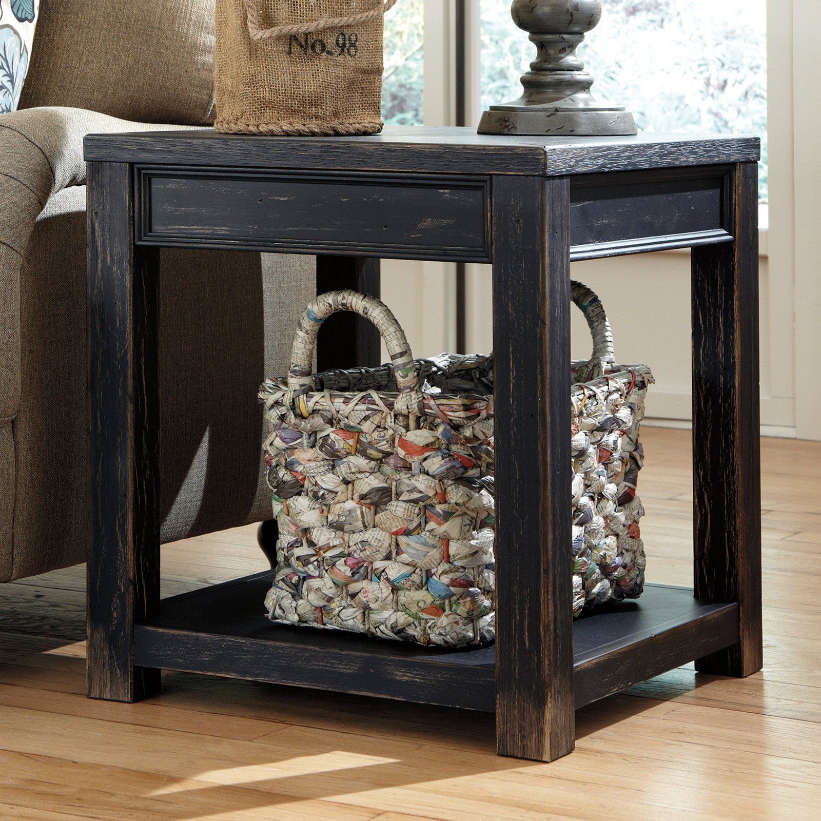 Signature Design By Ashley Gavelston Black Square End Table From