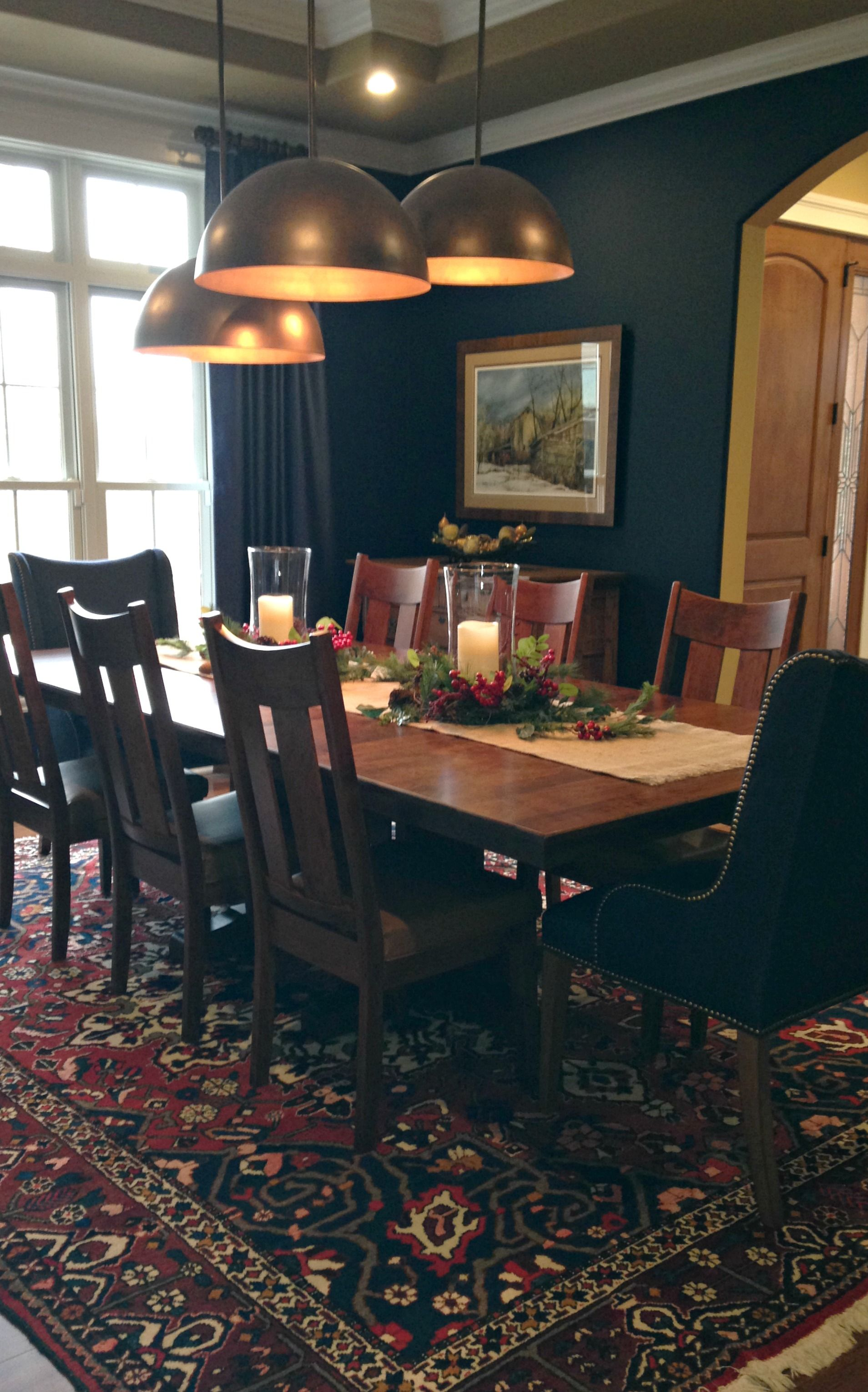 Navy And Red Oriental Rug Under Custom Dining Room Table And Chairs Navy Blue Walls Staggered Oriental Rug Living Room Red Dining Room Rugs In Living Room #red #persian #rug #living #room