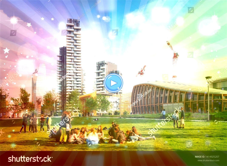 Italy  May 7 2019 People relax in sunny spring day in Biblioteca degli alberi park in Gae Aulenti square Milan Italy  May 7 2019 People relax in sunny spring day in Bibli...