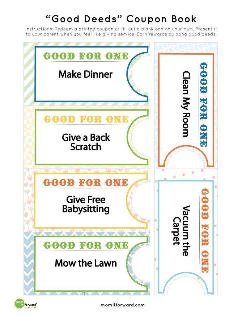 Good Deed Coupon Printables   Teach Your Kids To Serve Others With These Fun  Coupons.  Fun Voucher Template