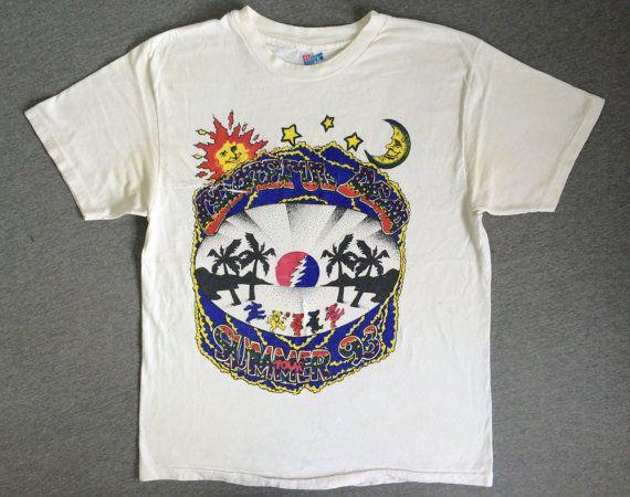 95bf3410cec GRATEFUL DEAD Tour Shirt 1993 Vintage  90 s Bootleg Summer Lot Tshirt  Distressed  Cities Dates Dancing Bears Jerry Garcia Large
