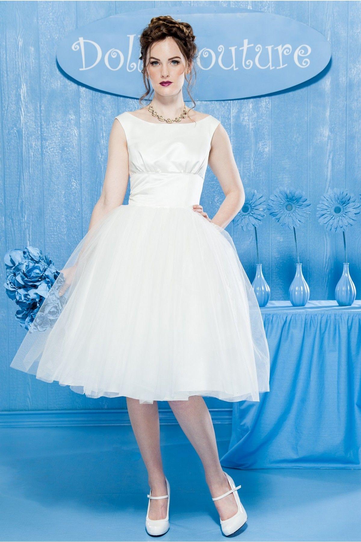 Audrey Hepburn Style Short Wedding Dress Moon River | Wedding ...