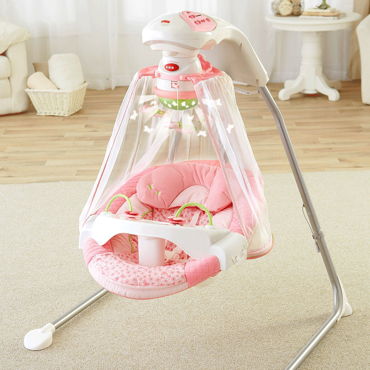 Fisher Price Butterfly Garden Papasan Cradle Swing K7923