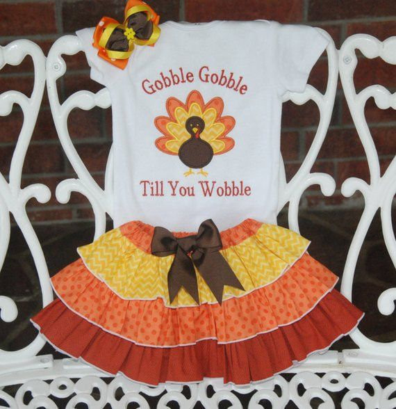 Baby Girl Thanksgiving Outfit! Girls Thanksgiving Outfit/ First Thanksgiving outfit/Gobble Till You Wobble/Thanksgiving Turkey Outfit
