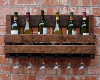 Rustic 10 Bottle Wall Mount Wine Rack with 8 Glass di KeoDecor