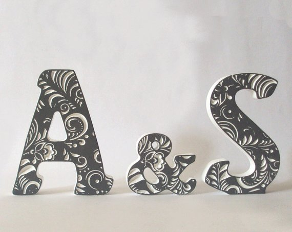 Wooden letters Letters AS Gray letter Wedding gift Letter 5 inches