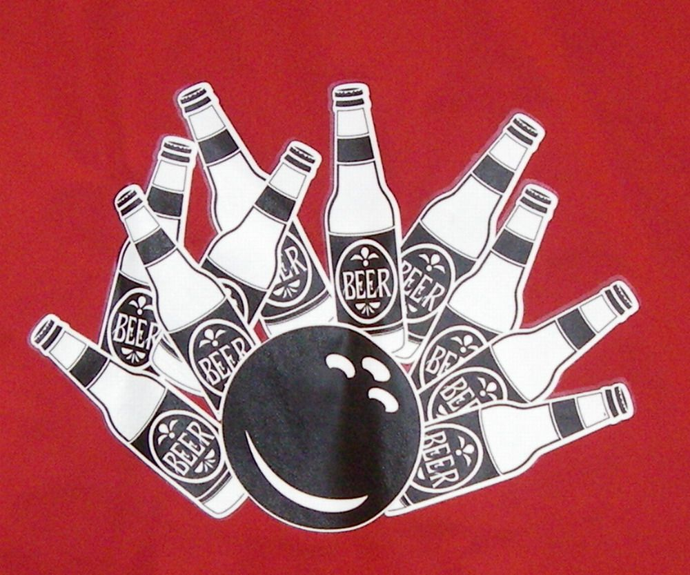 Beer Bottle Pin Splash On Back Of Red Classic W Budweiser Logo Embroidered On Sleeve Lg Beer Logo Bowling Shirts Beer Bottle