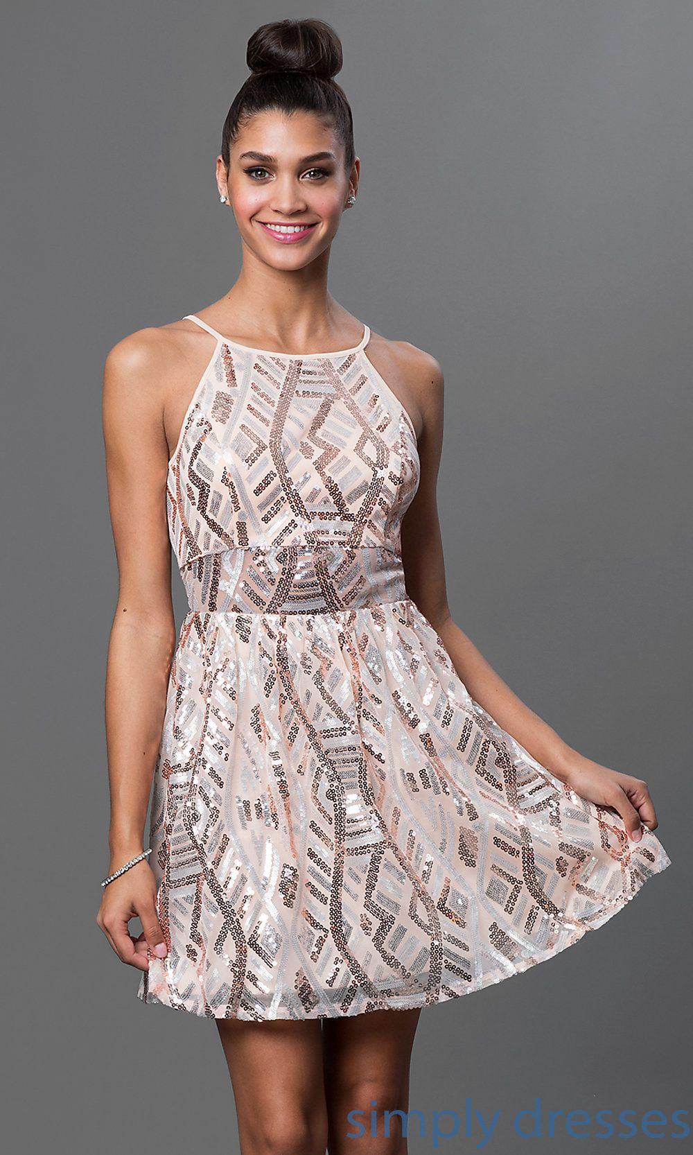Shop short sleeveless graduation dresses or short dresses at simply