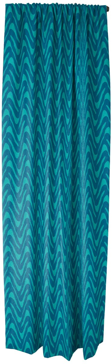 Rod Pocket Drapery Panel in Current Waves, Greek Teal Bedazzled, featured on Guildery