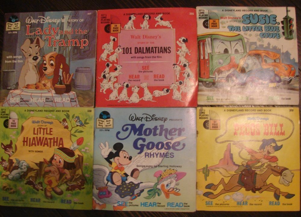 Vintage Disney Books On Record 6 Lot Set 70 S Teachers