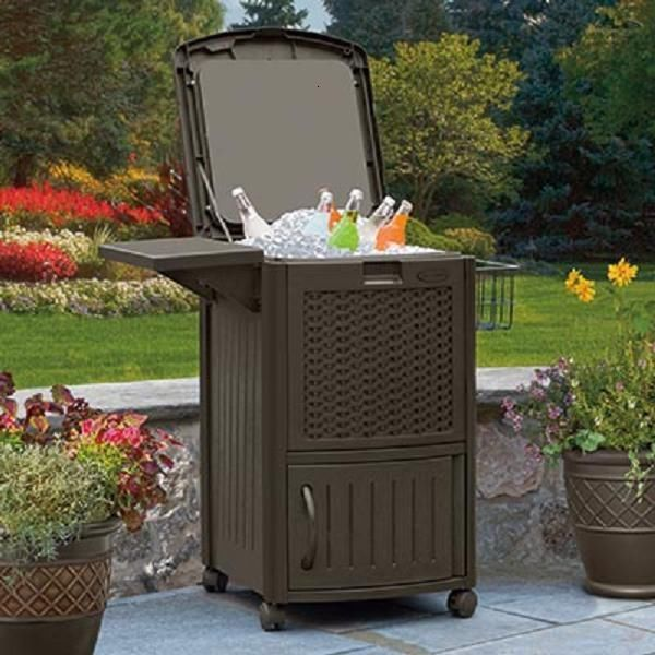 SUNCAST QUART RESIN WICKER PATIO ICE ROLLING CHEST COOLER CART WITH CABINET