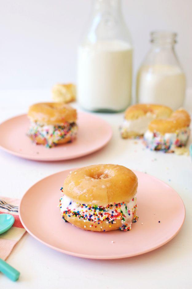 Glazed donut ice cream sandwiches with sprinkles donut ice cream glazed donut ice cream sandwiches with sprinkles ice cream recipeshomemade ccuart Gallery