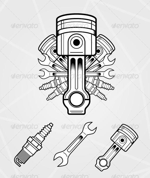 Engine parts car engine spark plug and engine for Piston and wrench tattoo