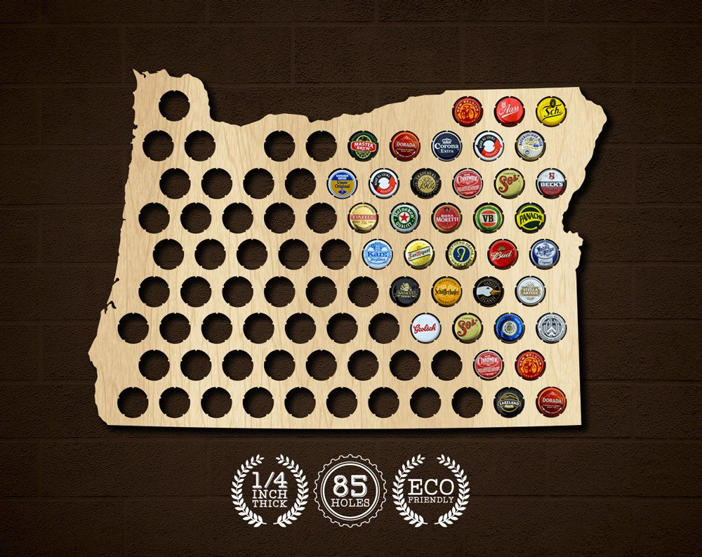 Oregon OR Beer Cap Map X High Quality Laser Cut Map Made Of - Oregon beer cap map