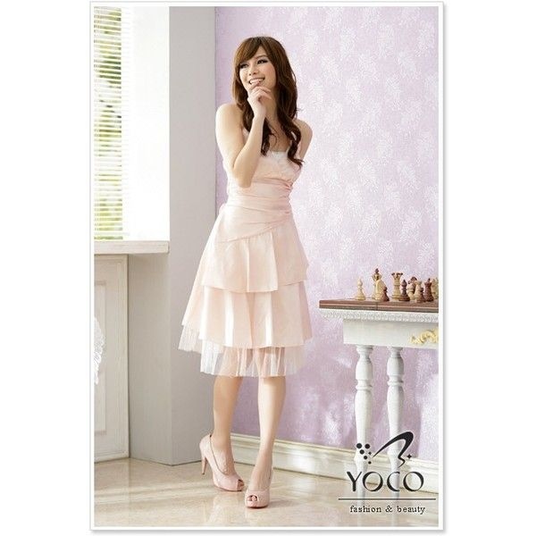 Wholesale Korean Dress J1270 Pink ($10) via Polyvore featuring ...