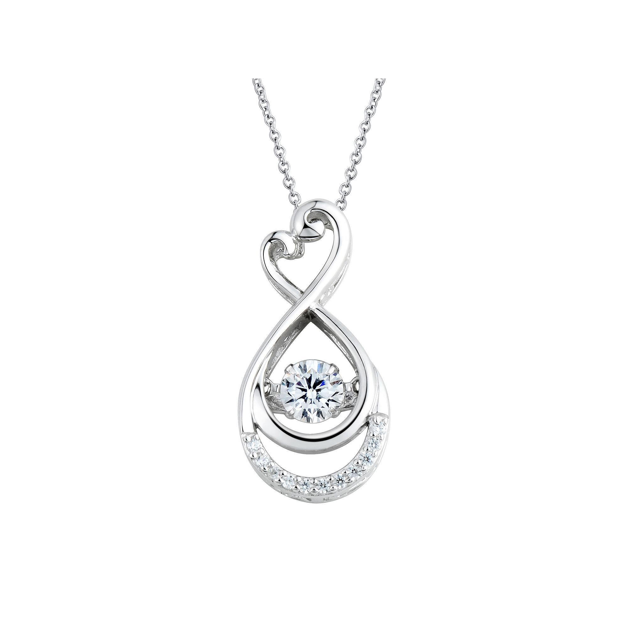 rhinestone infinity simulated us with tone silver pendant necklace