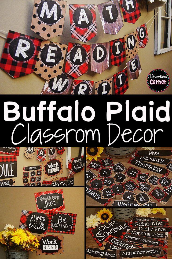 Buffalo Plaid Farmhouse Classroom Decor Bundle #elementaryclassroomdecor