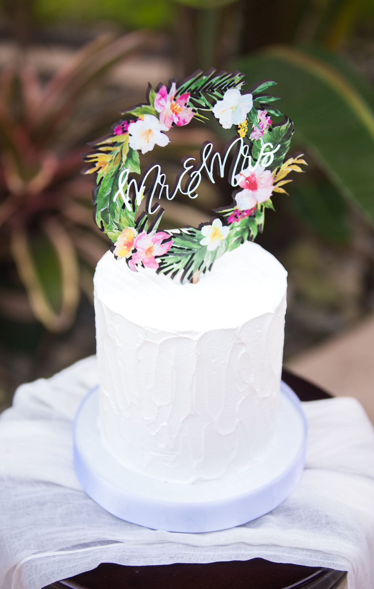 Tropical Wedding Cake Topper Floral Wreath Mr & Mrs Colorful Wooden ...
