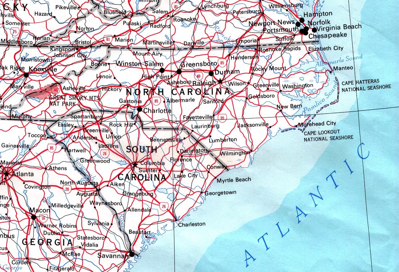 BCarolina Mapb Directory For Print Out Road Bmapsb NC - Road map of north and south carolina