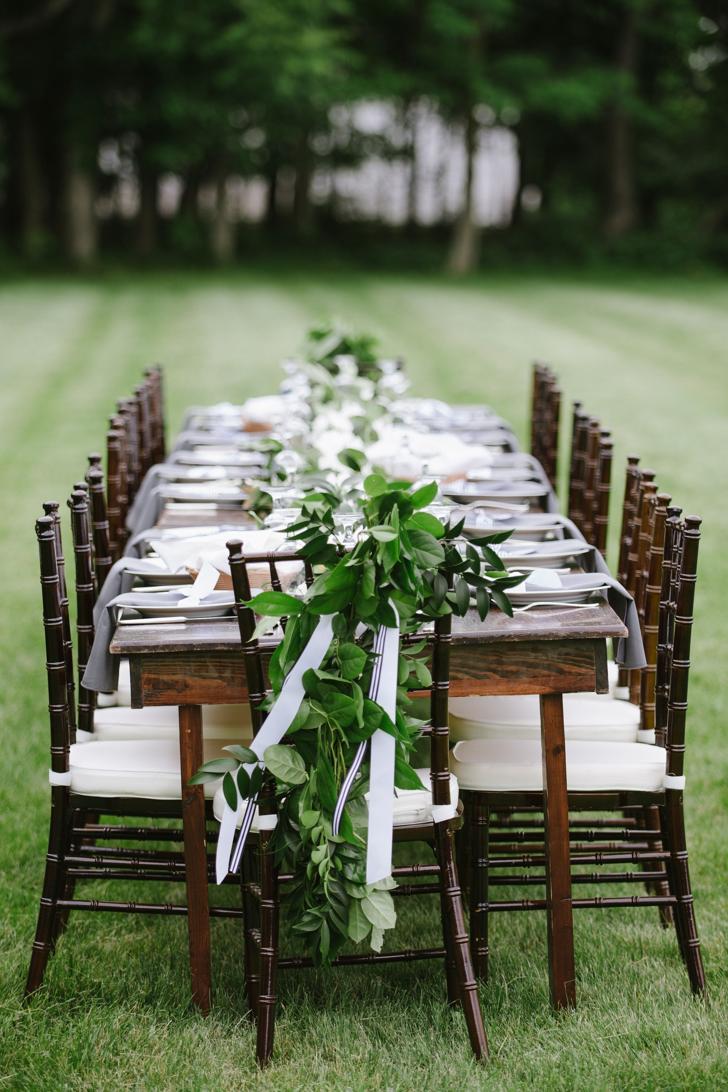 Farm Tables and Fruitwood Chiavari Chairs