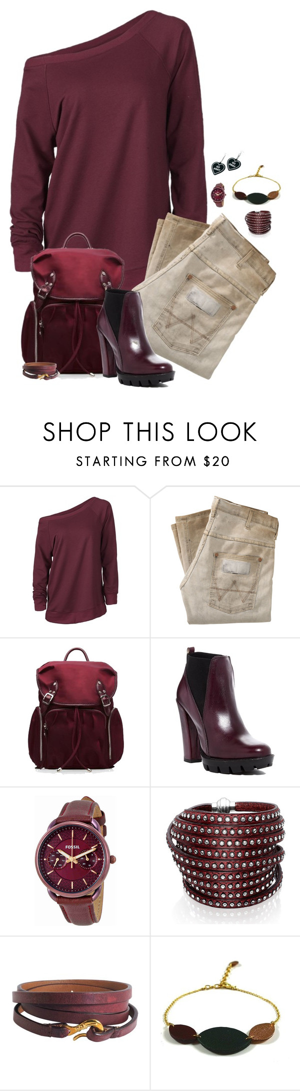 """Untitled #1859"" by patsypatsy ❤ liked on Polyvore featuring Wrangler, M Z Wallace, Charles David, FOSSIL, Sif Jakobs Jewellery, Ippolita, Atelier Maï Martin and Witch Worldwide"