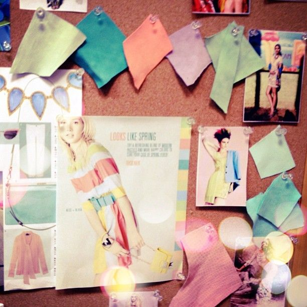 Spotted in the office: Pastel inspiration board #fashion #style #pastel #rainbow #pretty #beautiful #instamood #blue #green