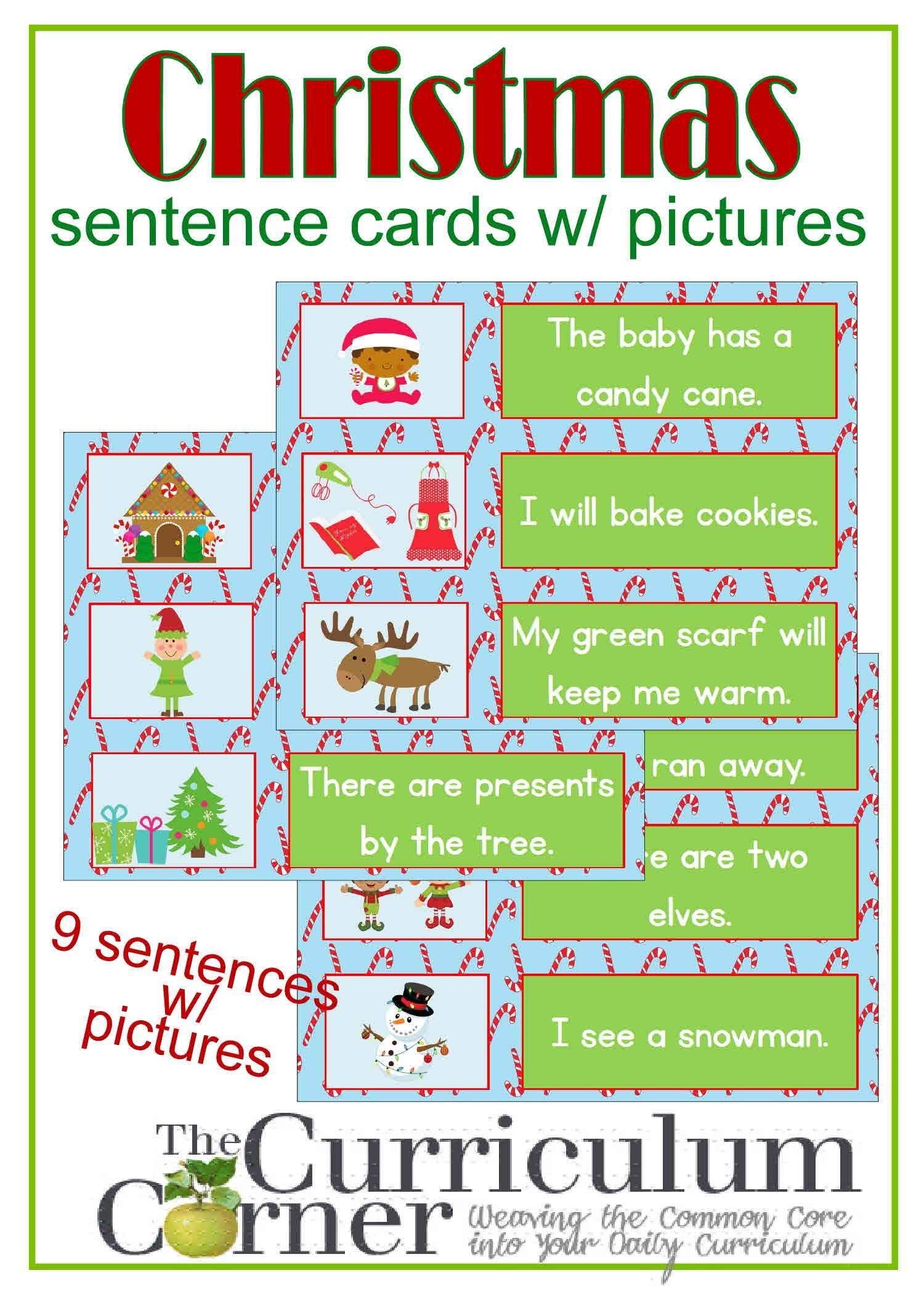 Christmas Sentence Cards W Pictures