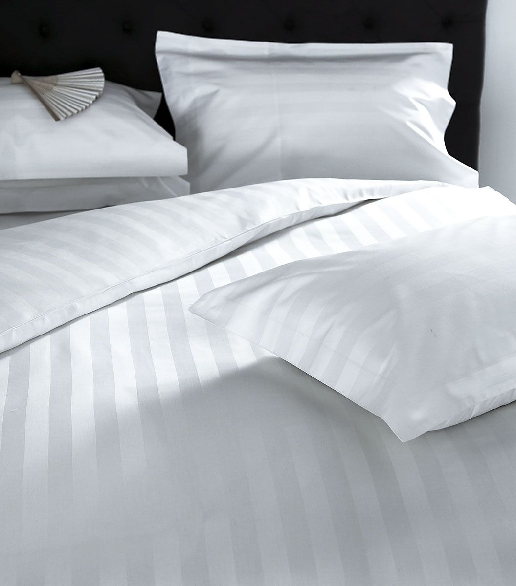 Hampstead White Satin Stripe Bedlinen White Bedspreads And Bed - Brown pattern bedding double duvet set calvin klein bamboo bedding