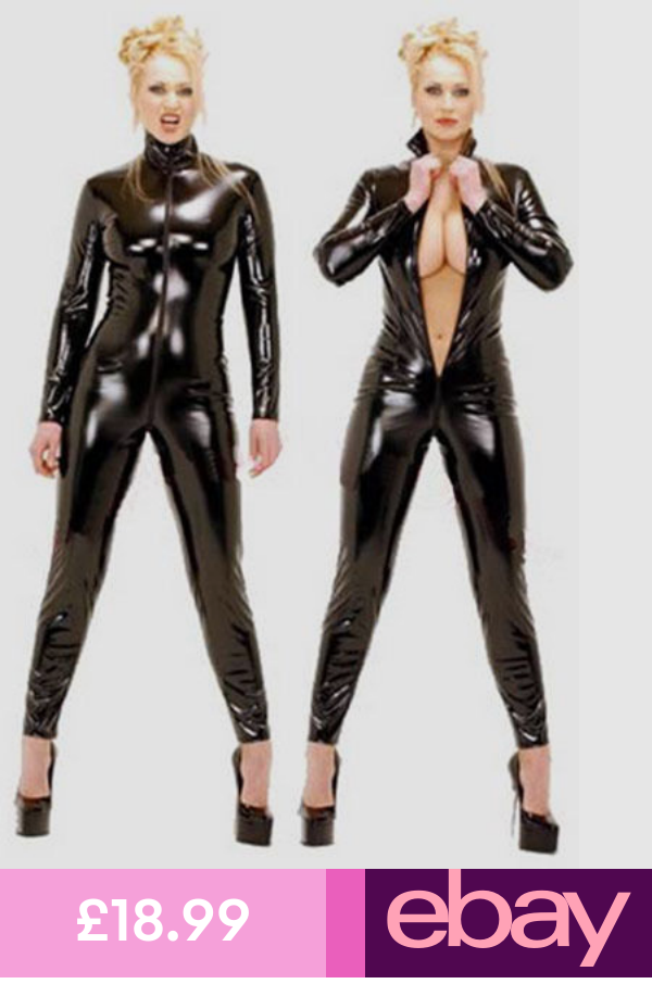 Women/'s Leather Wet Look Catsuit Bodysuit Jumpsuit Leotard Romper Clubwear S-XXL