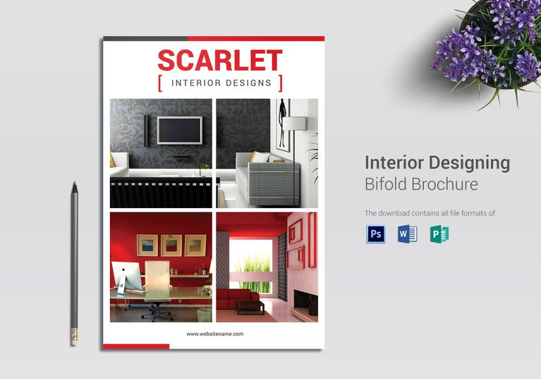 Interior Designing Bi Fold Brochure Template  Formats Included