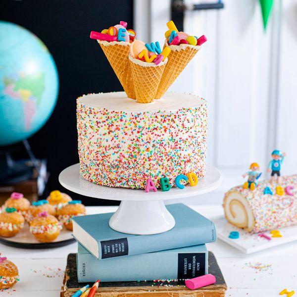 Konfetti-Einschulungstorte leicht gemacht #redvelvetcheesecake