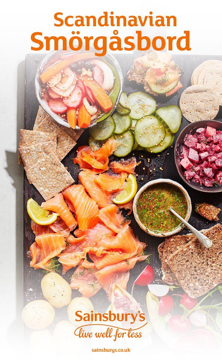 Recipe Scandinavian Smorgasbord With Gravlax Salmon Sainsbury S Recipe Recipes Food Uk Recipes