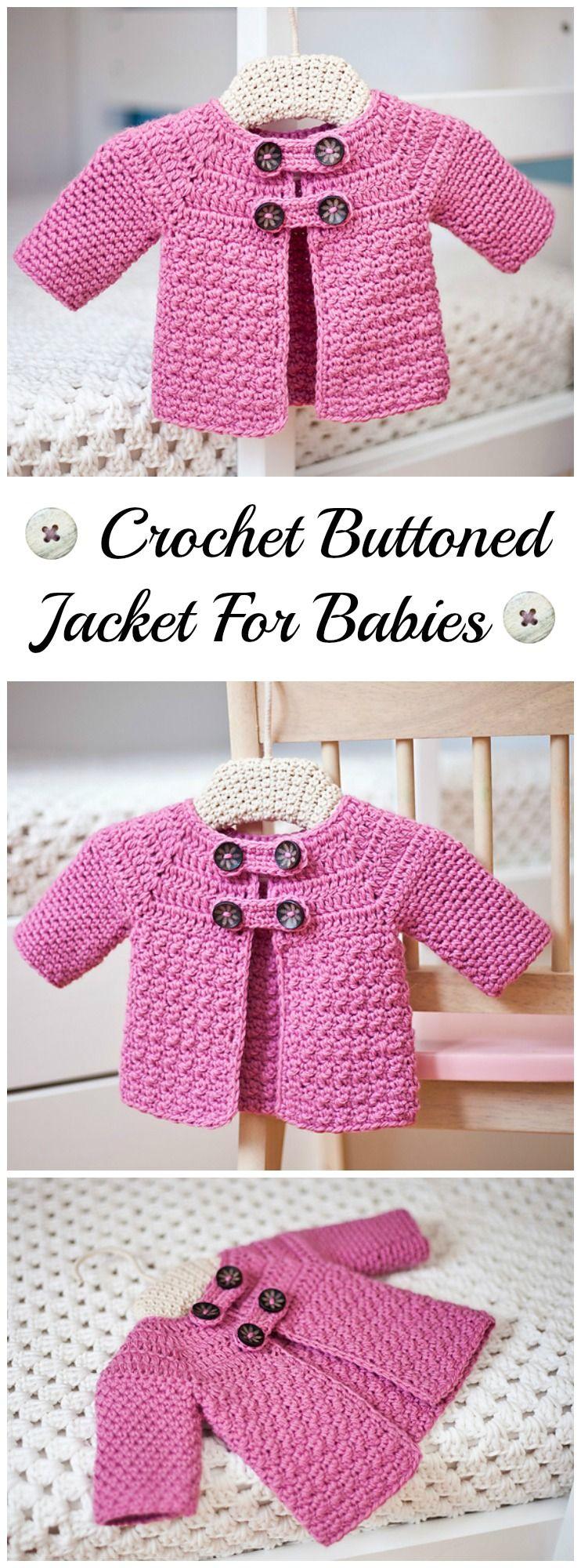 Crochet Buttoned Jacket   Bebé, Tejido y Cosas para bebe