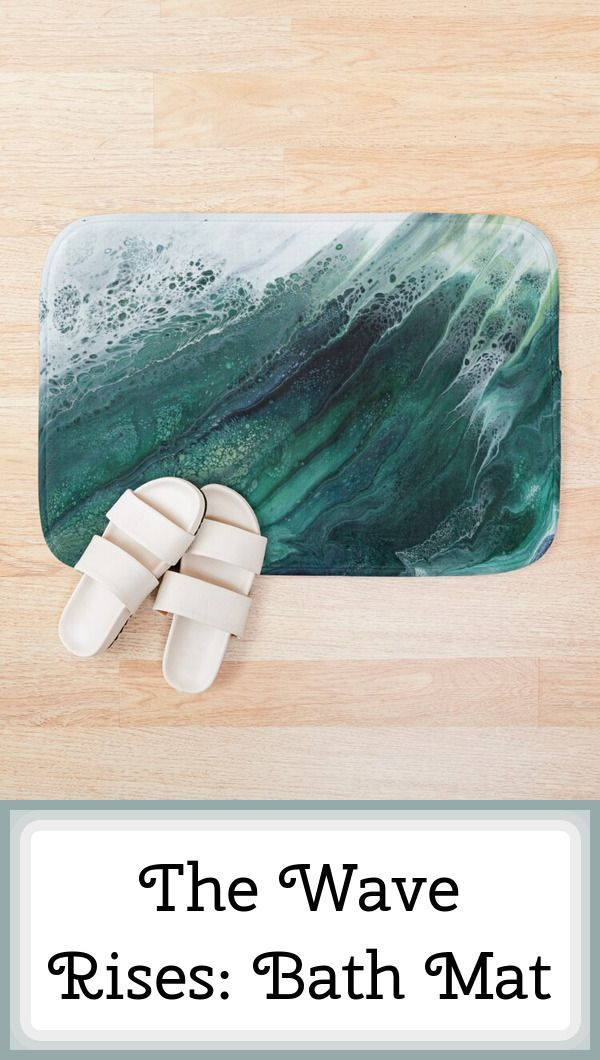 Unusual art printed on a bath mat. -- The Wave Rises - imagine yourself on the beach in Hawaii, watching a huge wave breaking. -- #BathMat, #Homeware, #HomeDecor, #Bathroom, #AcrylicPourPainting, #AustralianArtist, #BeachInspired, #Blue, #BreakingWaves, #Coastal, #FluidArt, #Hawaii, #Nautical, #Ocean, #OceanWave, #PourPainting, #Seascape, #Surf, #Teal #FindYourThing