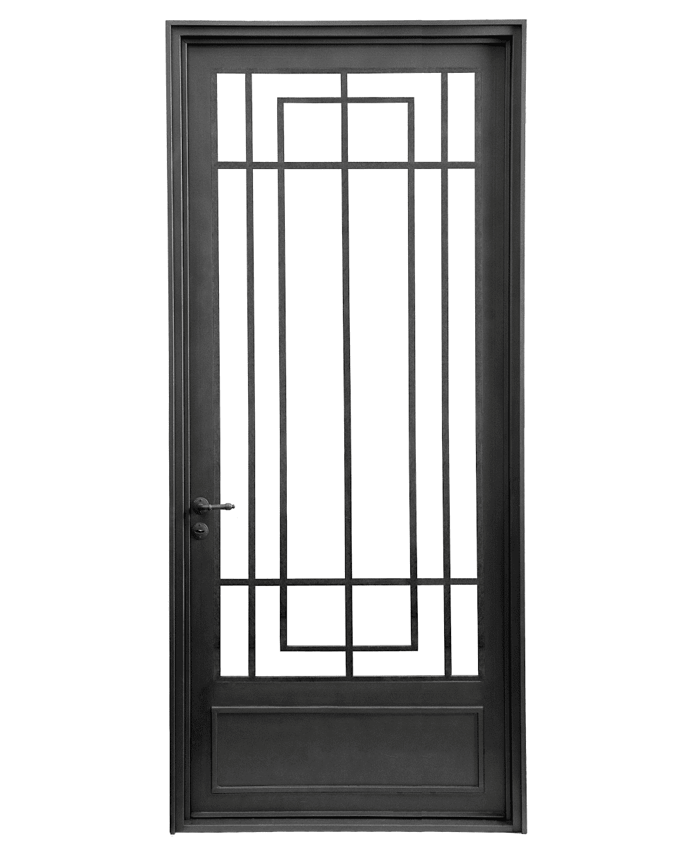 Puerta de entrada de una hoja casas de estilo por del hierro design en 2019  En casa de herrero cuchillo de palo  Steel security doors Iron