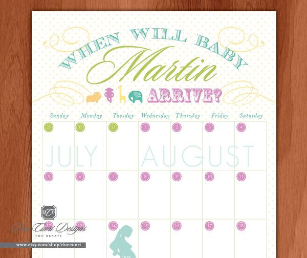 Calendar Design Baby : Baby due date calendar printable and personalized