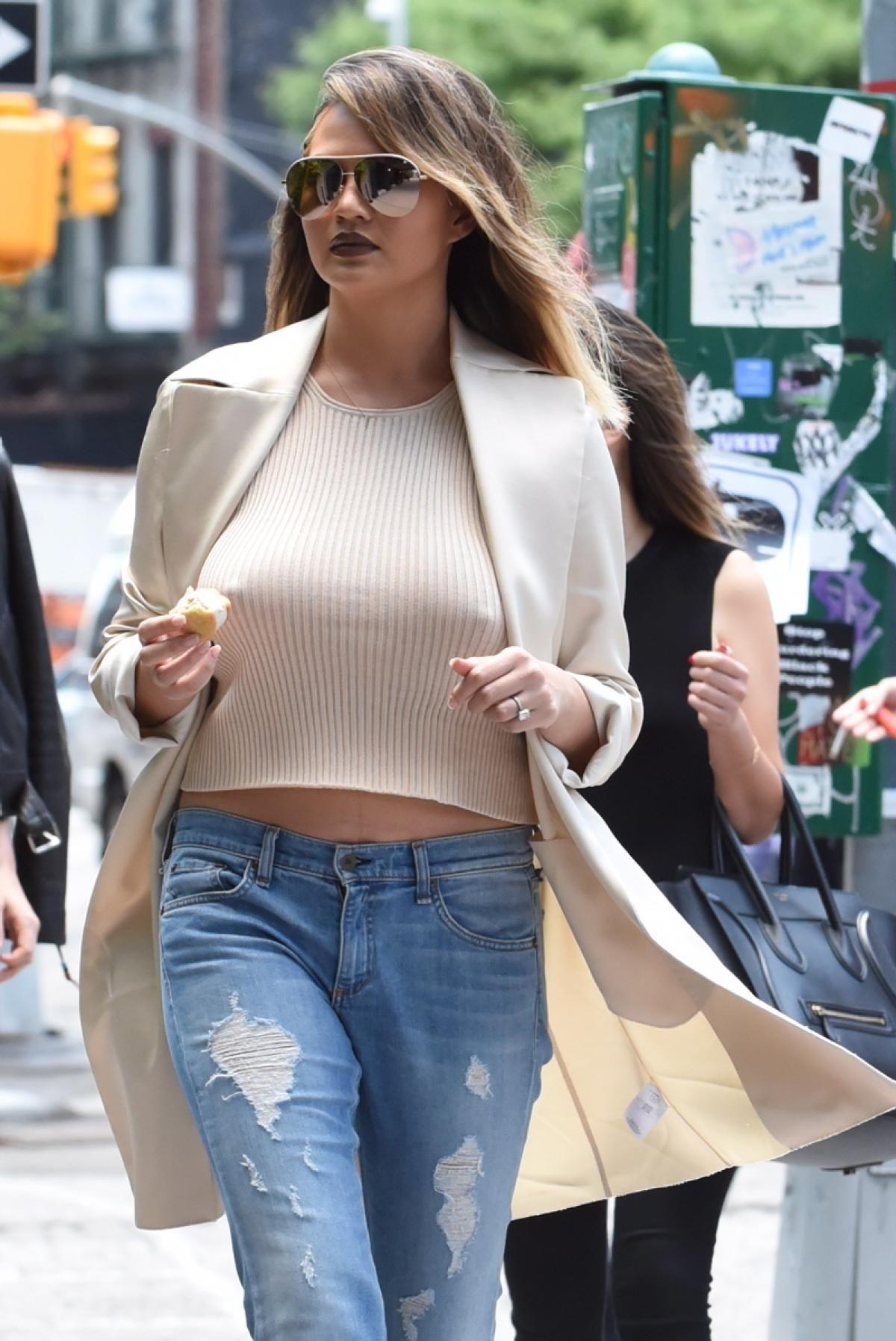 chrissy teigen - photos - celebrities going braless | celebrity