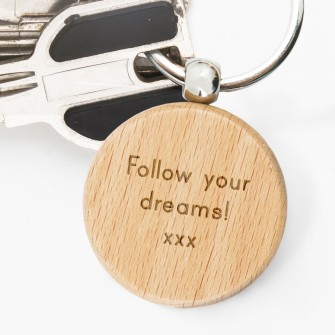 Personalised Wooden Round Keyring Message in 2020