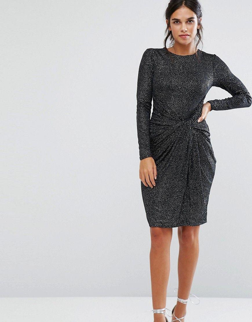City Goddess Embellished Shoulder Detail Mini Dress With Knot Front – Black 5a6f2c7fe