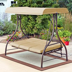 Mainstays Lawson Ridge Converting Outdoor Swing Hammock Tan Seats 3 Outdoor Hammock Swing Outdoor Swing With Canopy Outdoor Swing