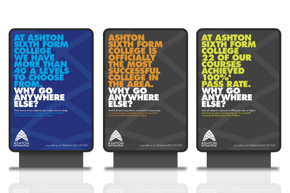 Ashton Billboards University Brochures Sixth Form College University Marketing