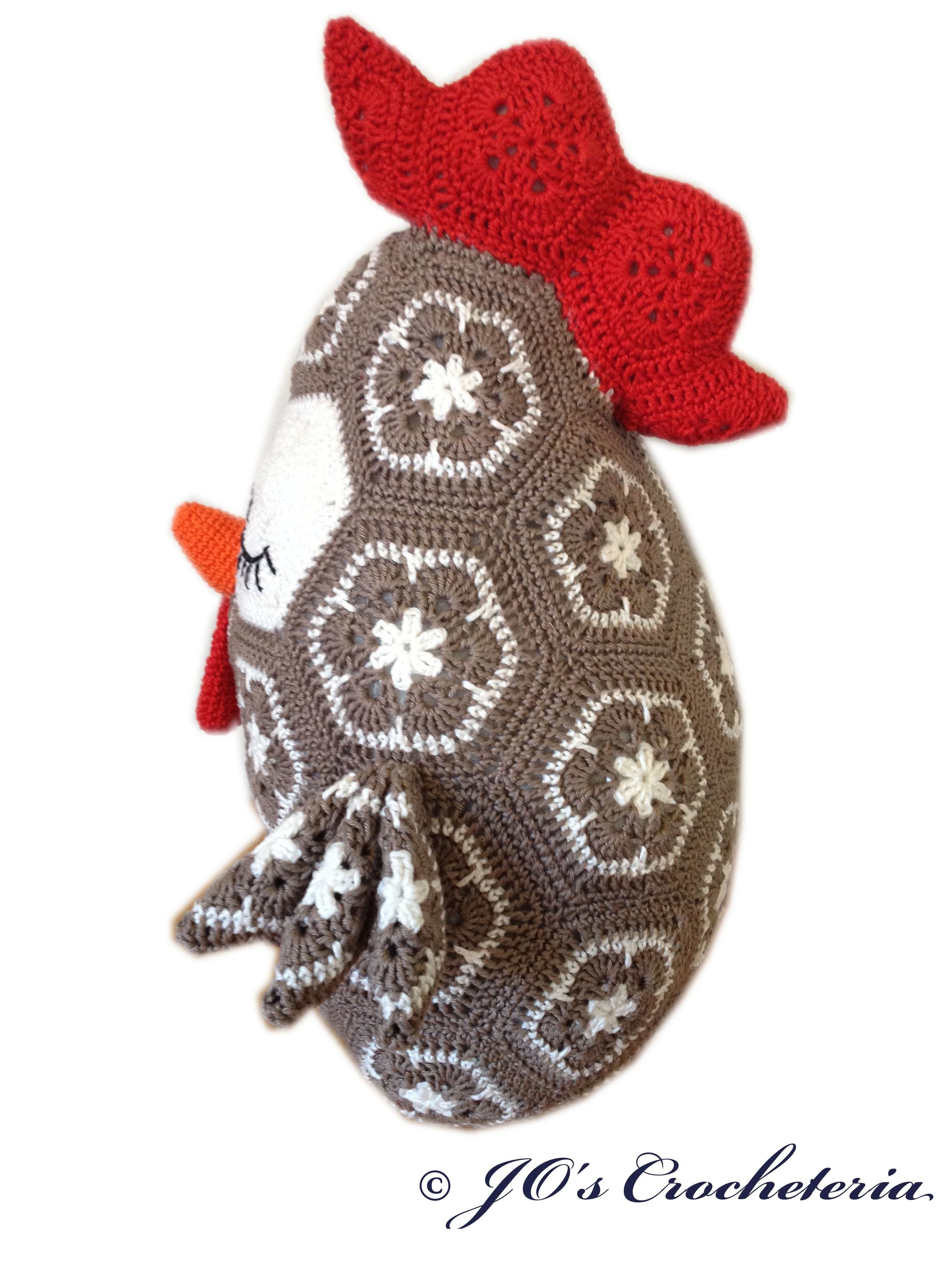 Frank the African Flower Chicken Pillow pattern by JOs Crocheteria ...
