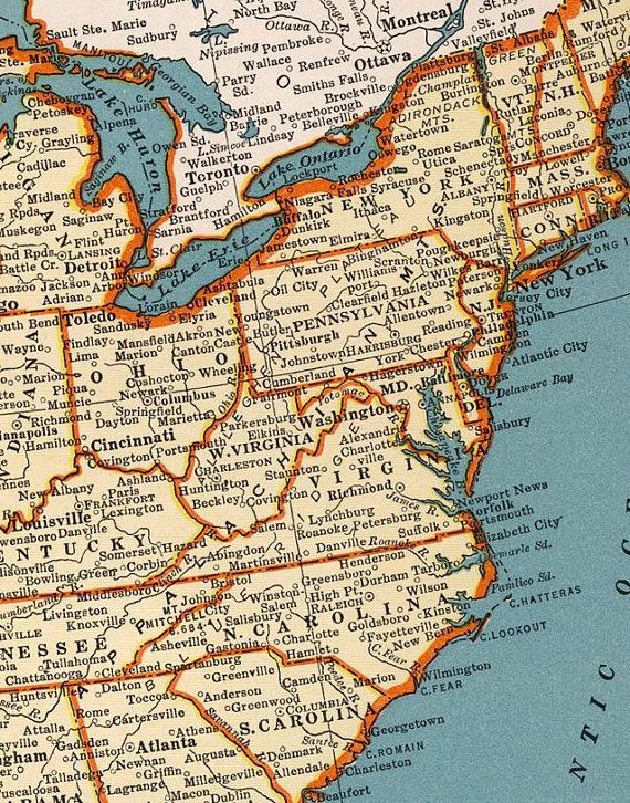 Vintage United States Of America Printable Map North America Map - Print-us-map