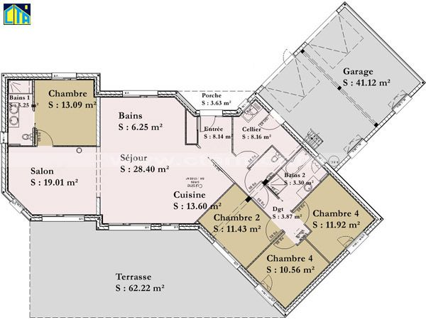 Plan maisons plain pied 4 chambres 1 plan maisons plain pied 4 chambres maisons en bois - Plan maison plain pied 6 chambres ...