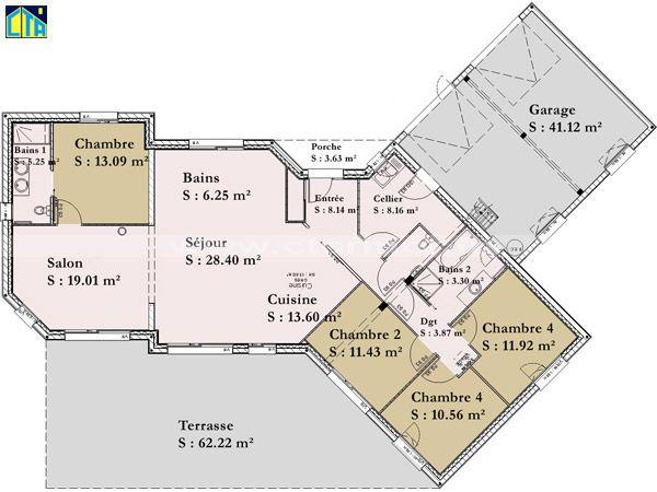 Plan maisons plain pied 4 chambres 1 plan maisons plain for Plan maison plain pied 4 chambres 110m2